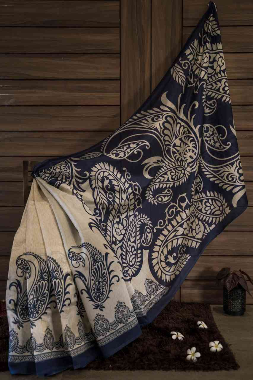 Timeless Cream And Blue Colour Designer Silk Saree