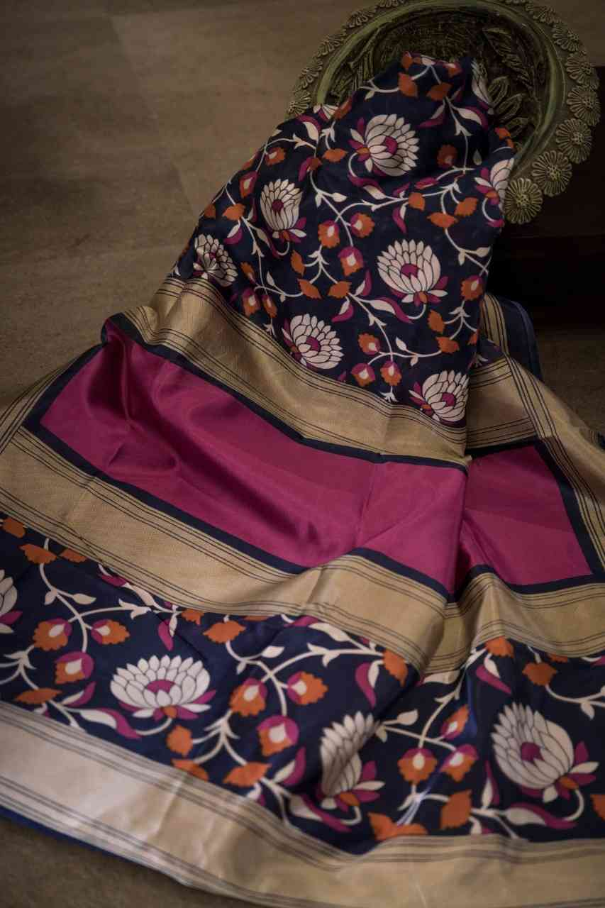 Attractive Flower Designer Blue Border Silk Saree