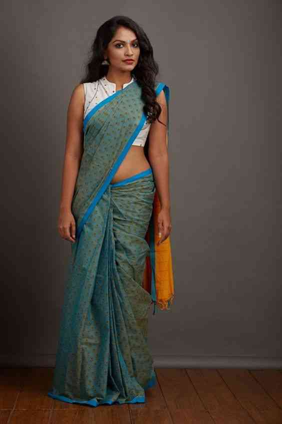 Excellent Sea-Green Colored fancy Soft Silk Saree