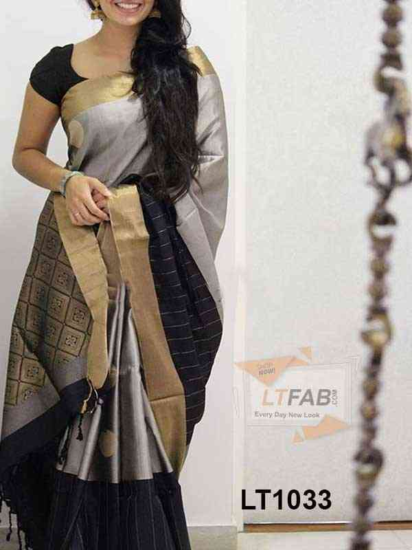 New Latest Grey Coloured Party Wear saree