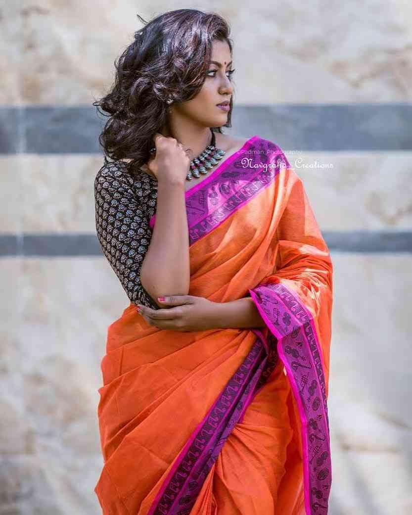 New Latest Orange Colored Soft Silk Saree