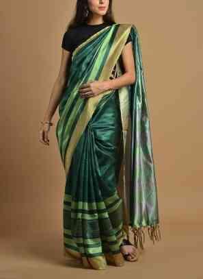 Amazing Green Wedding Wear Soft Silk Saree With Blouse