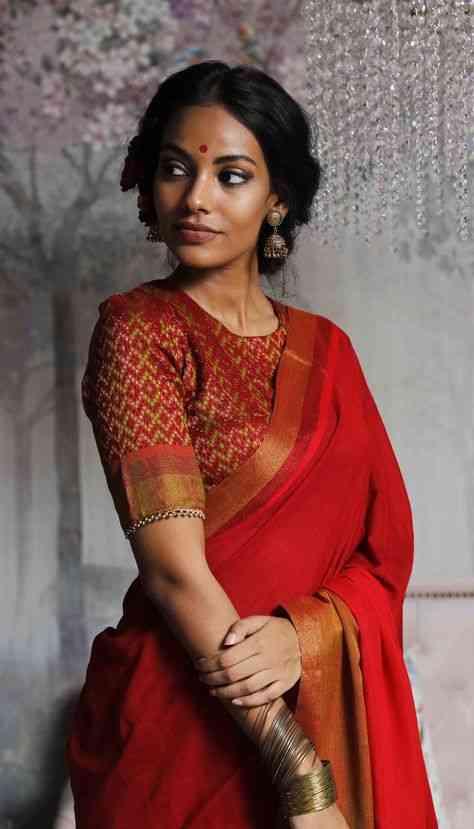 Charming Red Color Soft Silk Designer Saree