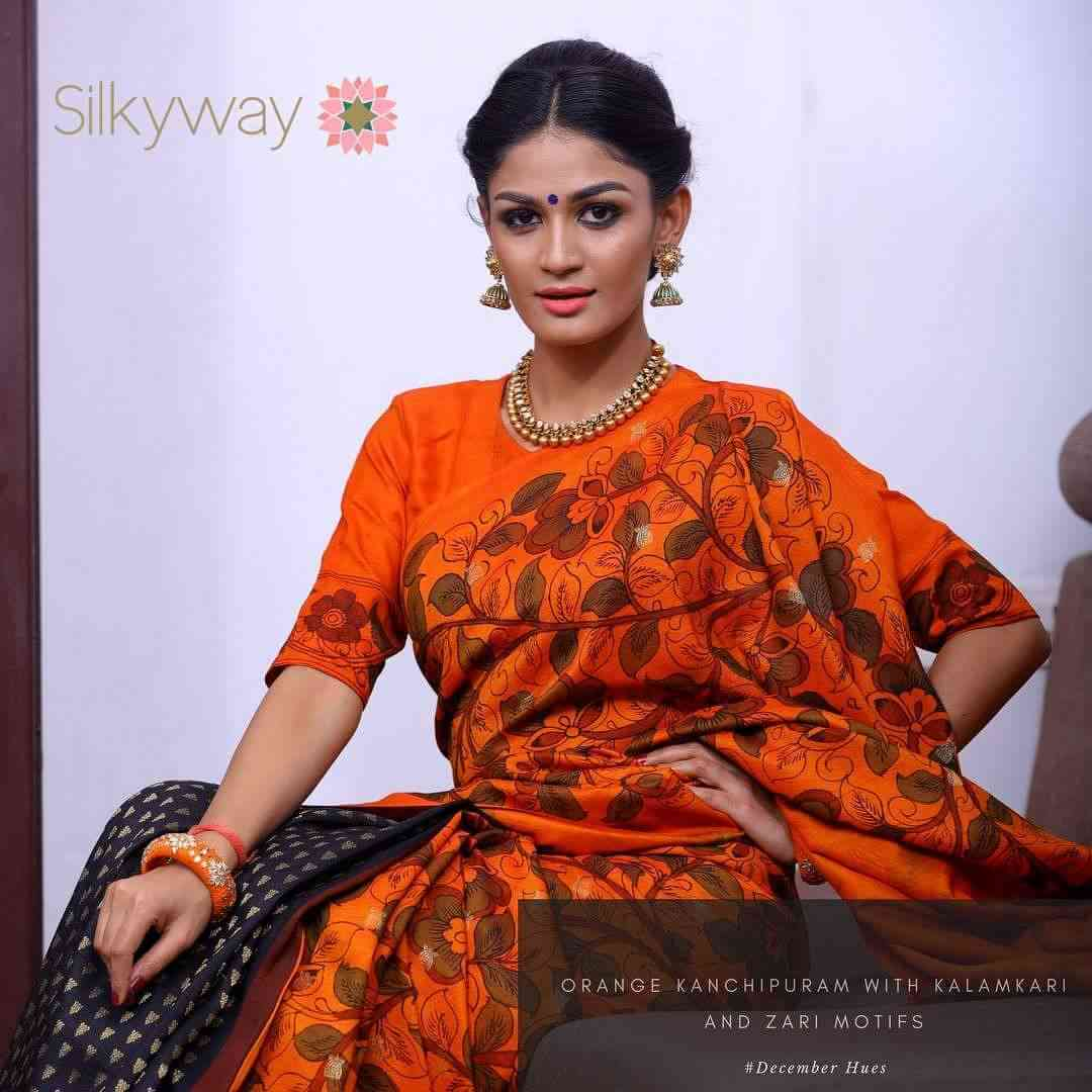 Refreshing Orange Color Soft Silk Designer Saree