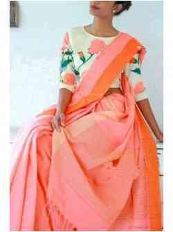 Refreshing Peach Color Soft Silk Designer Saree