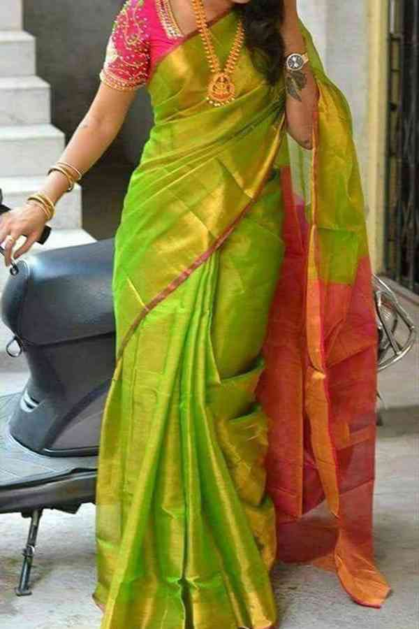 Impressive Light Green Colored Soft Silk Saree