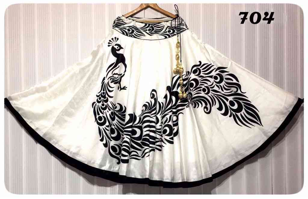 Outstanding White Color Satin Silk Printed Free Size Lehenga - CG119