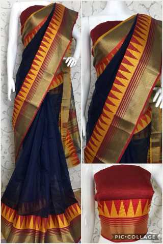 Foma Dark Blue kota(cotton) doria saree-DCL03