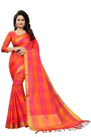 BiffPaste Multicolored Heavy Designer Checks Cotton Saree-DCOC03
