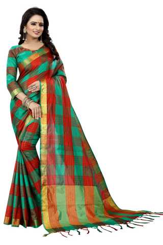 Dentrex Multicolored Heavy Designer Checks Cotton Saree-DCOC07