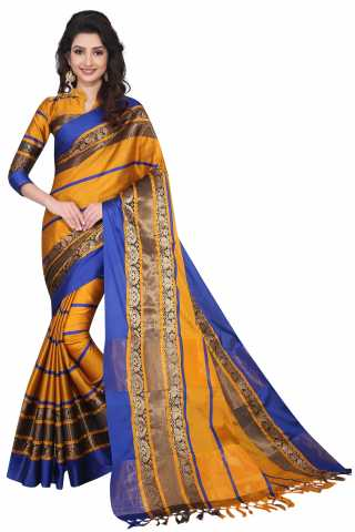 Buzzmaker Orange Stripped cotton silk saree-DMSS03