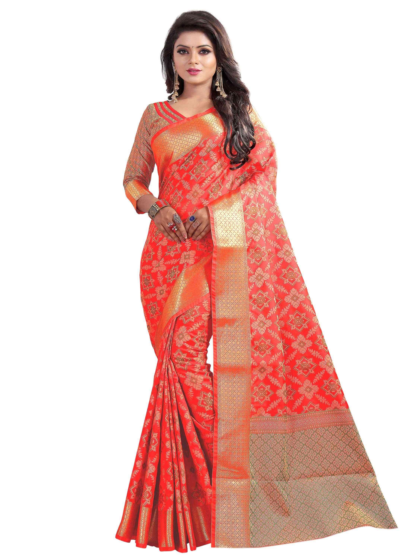 red banarasi silk saree IF PATOLA RED
