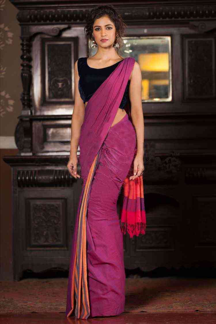 Ethnic Pink And Black Designer Saree - J-53