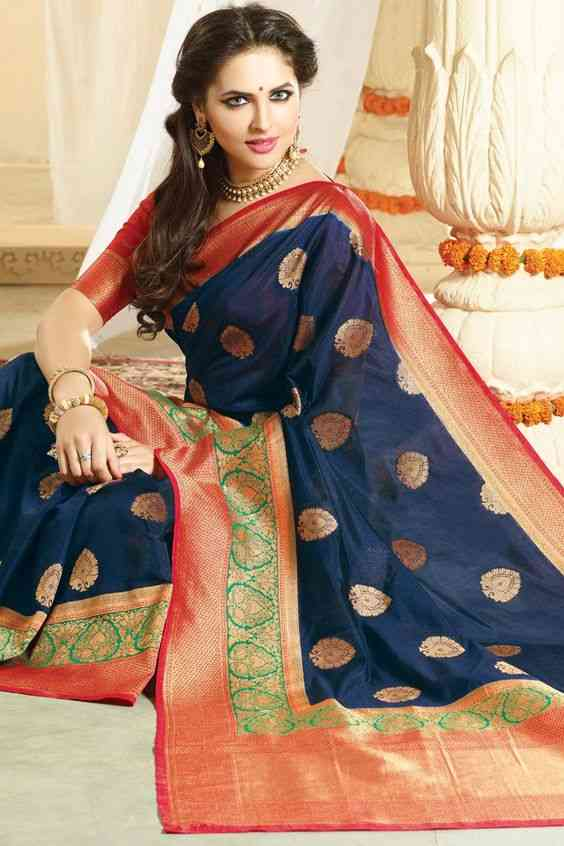 Blue Colored Designer Silk Saree - J-59