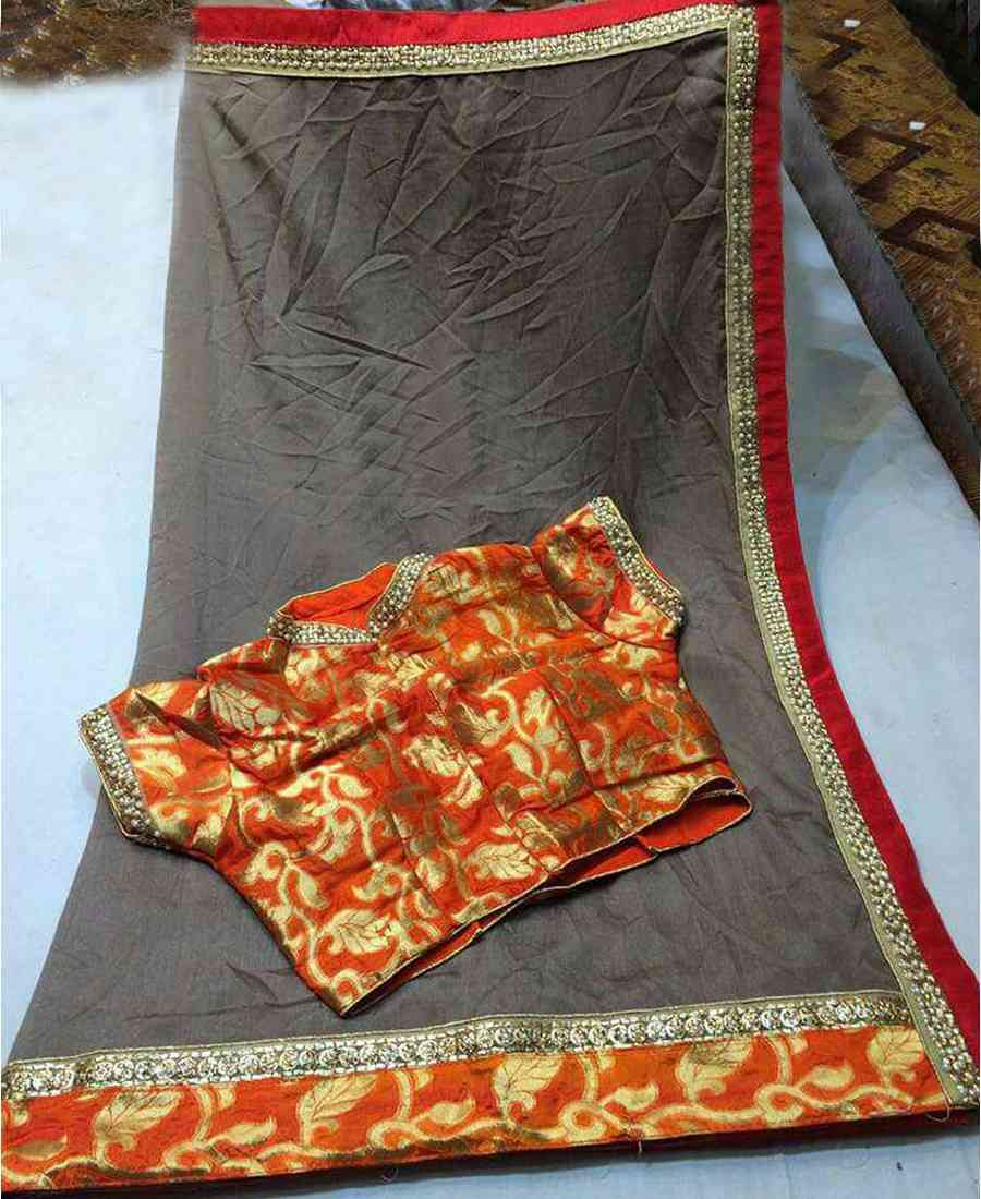 Classy Plain Grey Georgette Lace Border Saree With UN-stitch Blouse