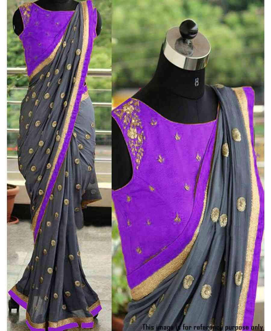 Classic Attractive Grey and Purple Georgette Sequence Embroidered Saree