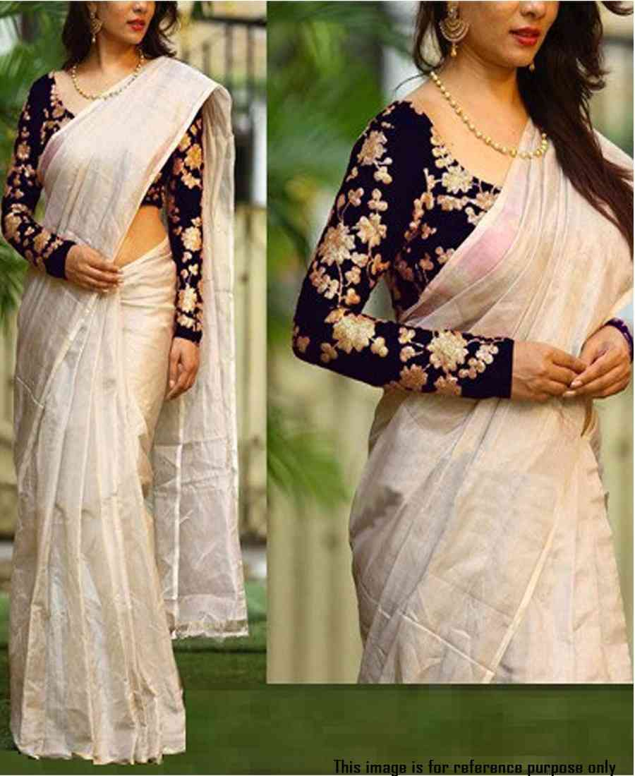 Classic Stunning chanderi saree with black sequence embroidered blouse