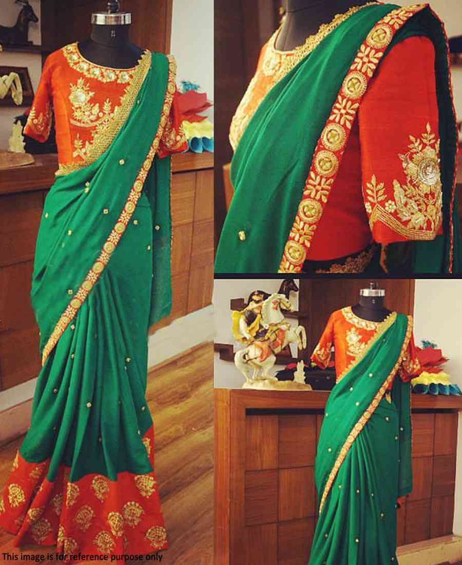 Traditionally green and orange 60GM Georgette embroidered saree Jm-136569