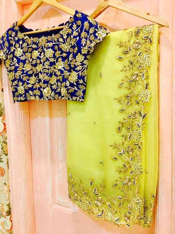 Glamorous Exclusive Lemon Yellow Embroidery Border Saree With un-stitch blouse Jm-M4961
