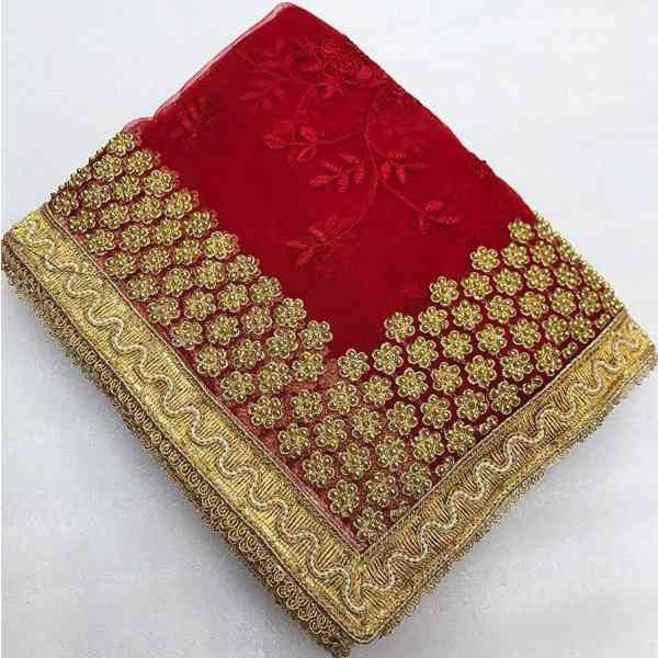 Classic Moiety red net embroidered saree Jm-V3-049-red