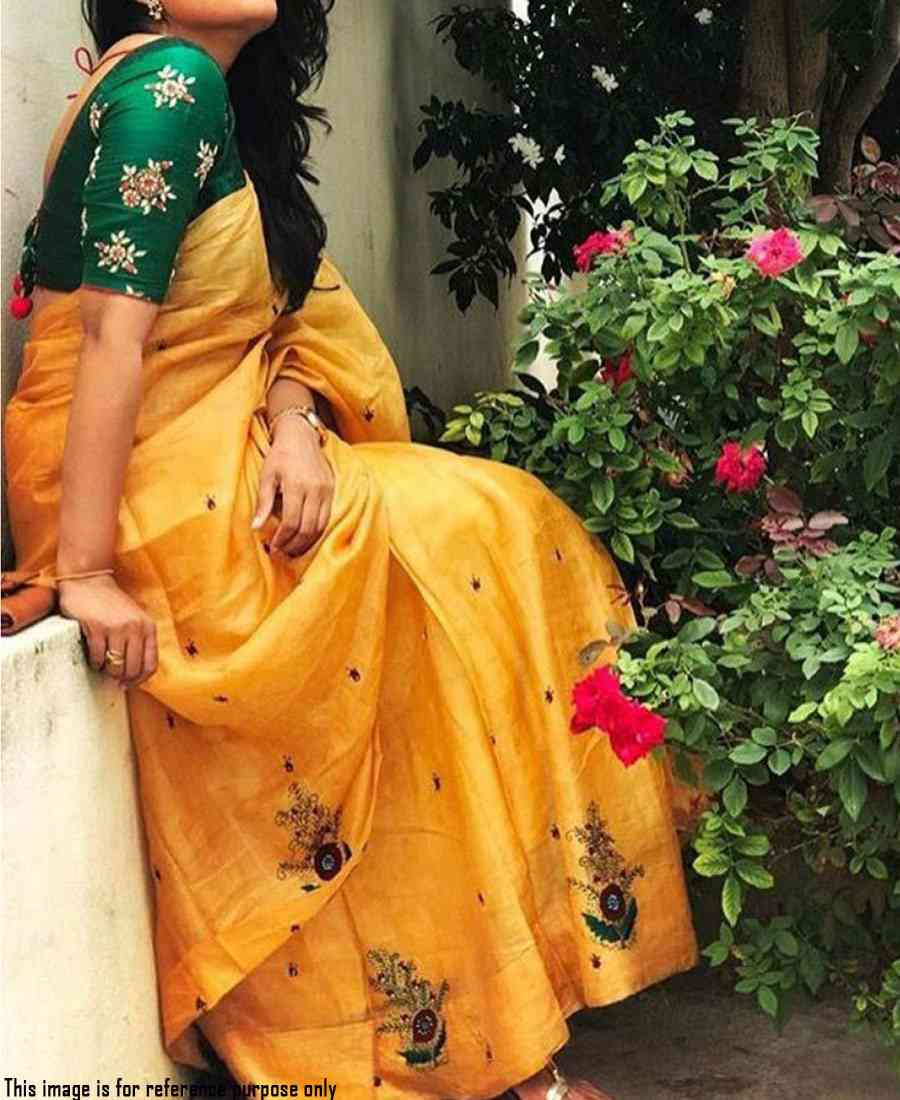 Stylish yellow chanderi cotton sequence embroidered saree - Jm-YELLOWGARDEN