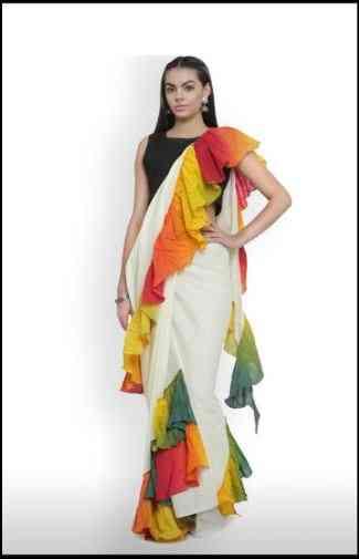 Impressive Whie Colored Designer Georgette Solid Ruffle Saree