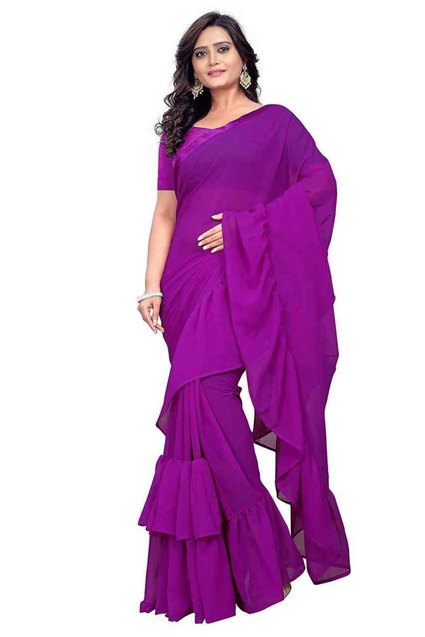 Pretty Violet Colored Designer Georgette Solid Ruffle Saree For Women