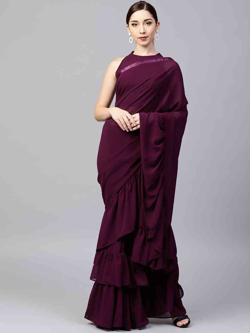 Excellent purple Colored Designer Georgette Solid Ruffle Saree