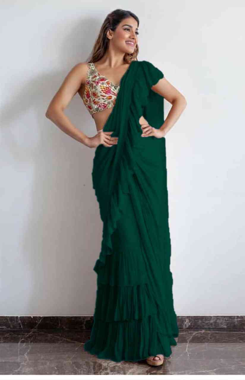 New Collection Green Colour Georgette With Ruffle Silaya Saree