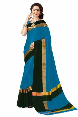 Flawless Blue - Black Colored Cotton Silk Striped Pattern Saree -MFANGN15
