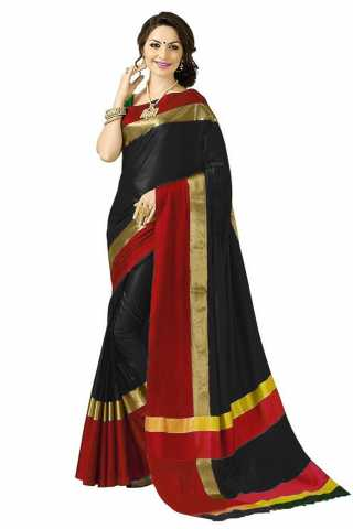 Exquisite Black-Red Colored Cotton Silk Striped Pattern Saree -MFANGN6