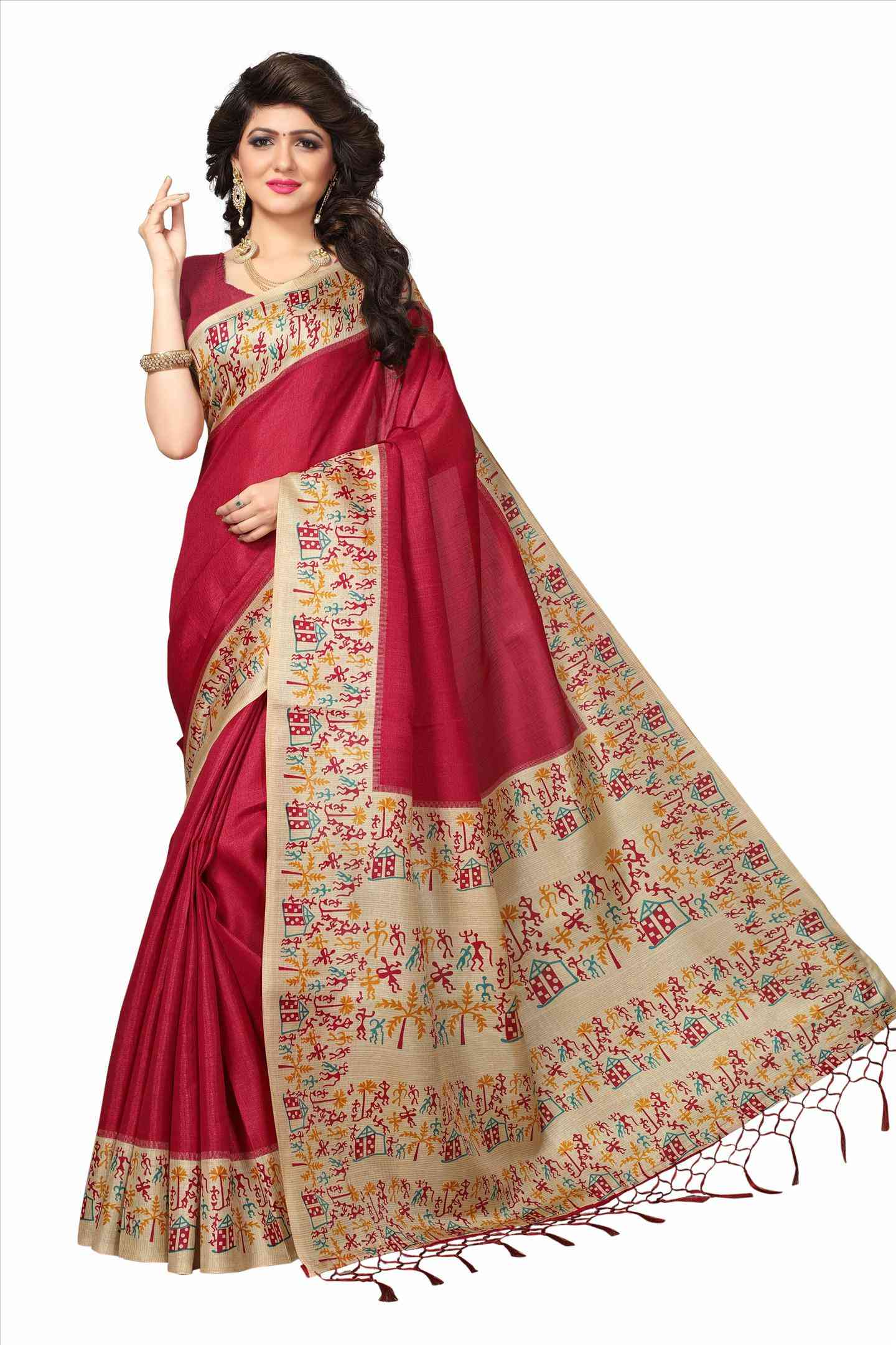 Ethnic Red And Cream Color Soft Khadi Designer Saree - Maruti-22MST_104