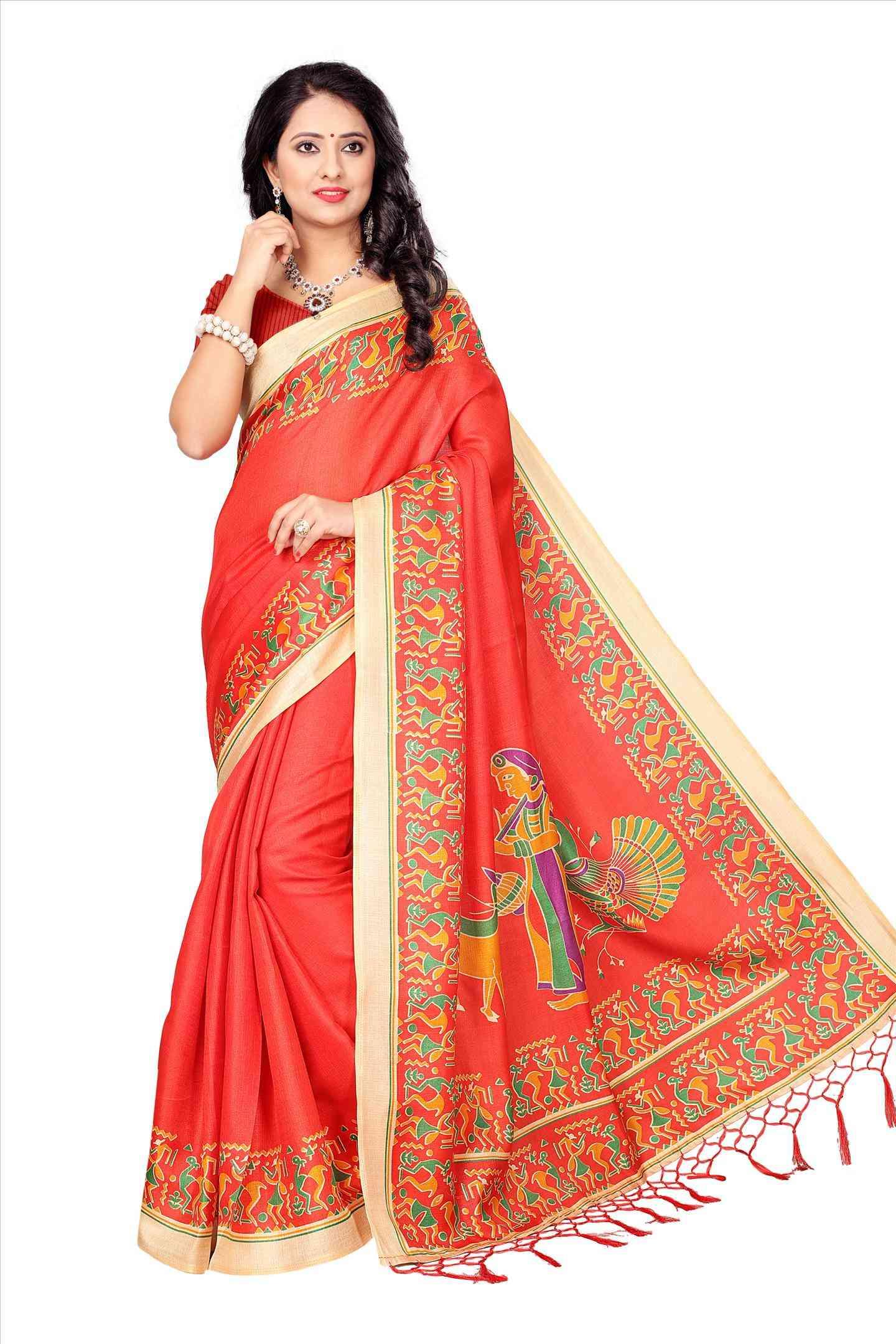 Ethnic Orange And Cream Color Soft Khadi Designer Saree - Maruti-22MST_108