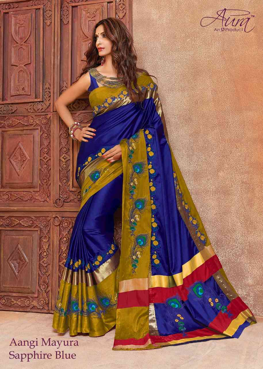 Pleasurable Blue and Golden Color Cotton Silk Designer Saree - Mayura Blue-Golden