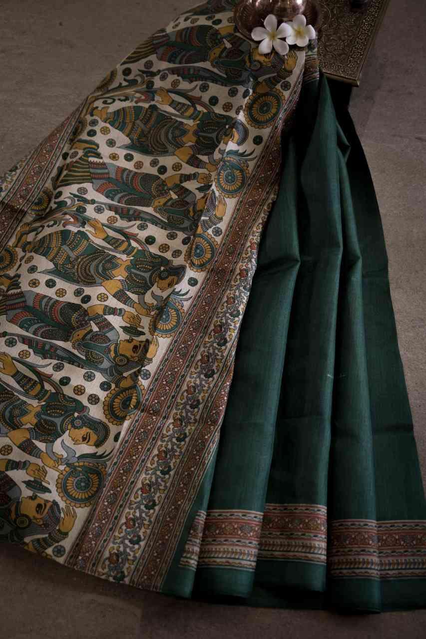Colormatrix Green Colour Designer Silk Saree