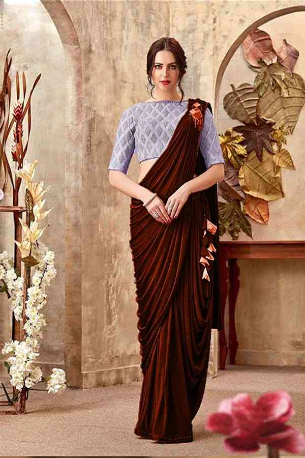 Brown Lycra Wedding  Bridal Party Wear Saree With Blouse