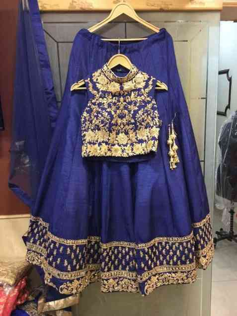 Taffeta Silk Blue Semi Stitched Lehenga Choli