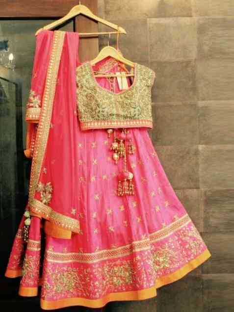 Pink Colour Best Look Pink Taffet Silk Embroidery Work Lehenga Choli