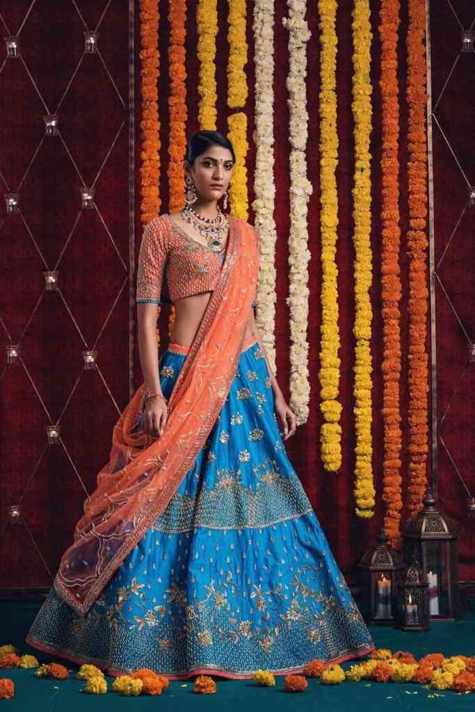Ethnic Taffeta Silk Sky Blue And Orange Semi Stitched Lehenga Choli