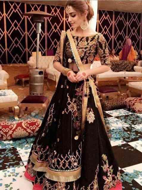 Designer Black Heavily Embellished Crepe Base Lehenga Choli