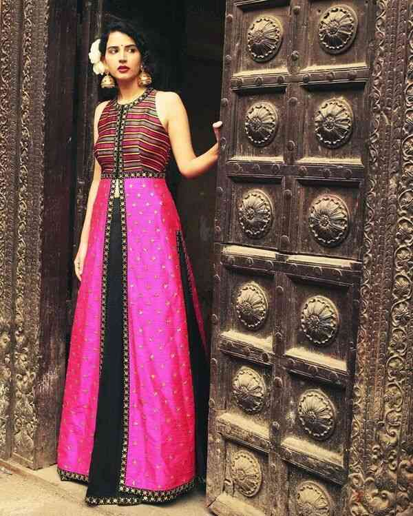 Classic Attractive Pink-black Printed Silk Lehenga