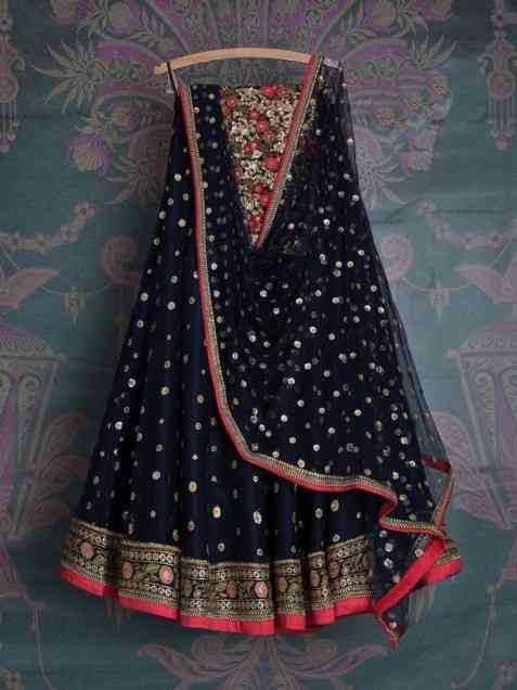 Classic Blue Color Net Fabric Machine Embroidered Work lehengas
