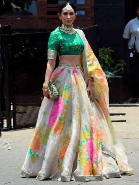 Printed multicolor Tissue Silk Lehenga Choli