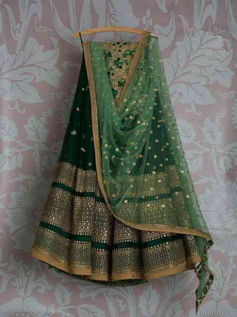 Classic Green Colour Bangalory With Embroidery Work Lehenga Choli