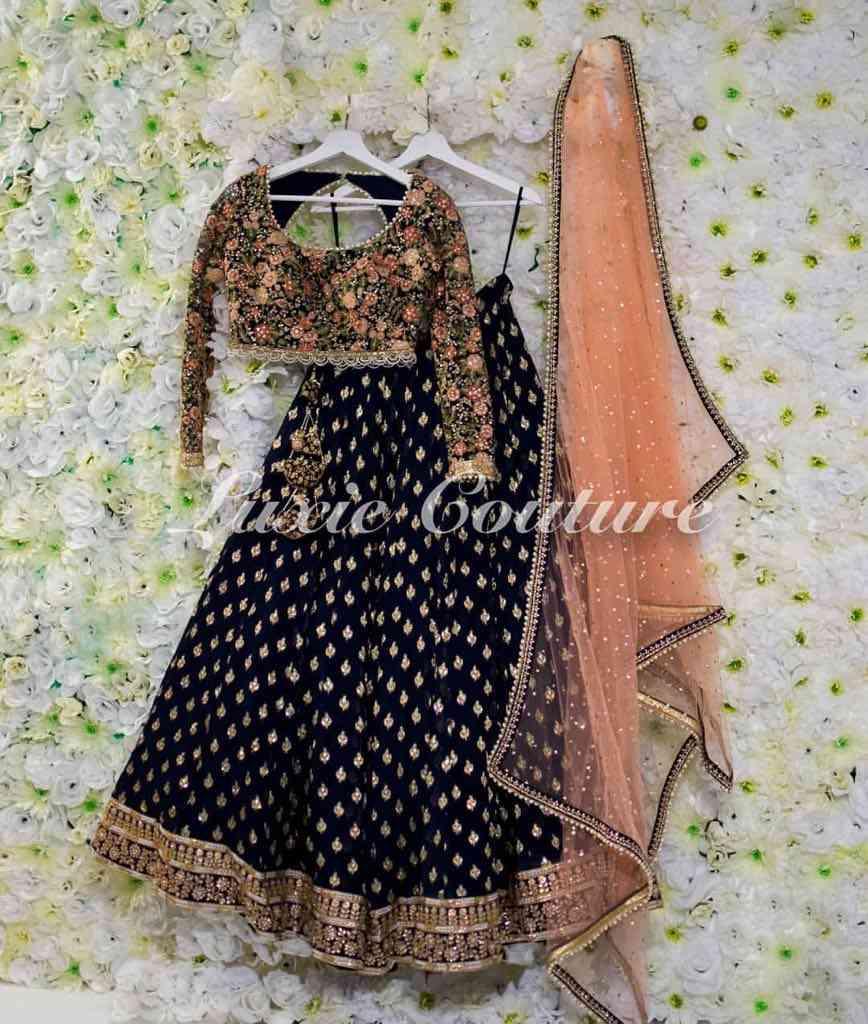 Blooming Black embroidery Work Designer Circular Lehenga Choli