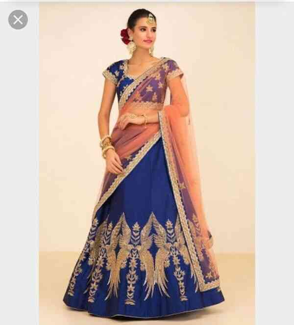 Designer Blue Heavily Embellished Crepe Base Lehenga Choli