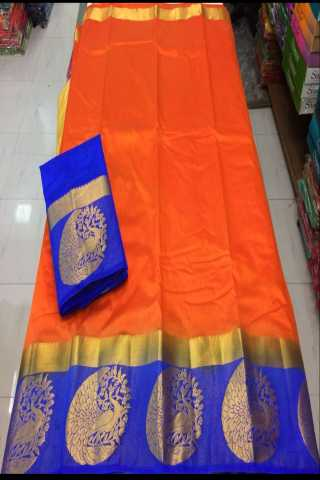 Dognost Orange-BlueKanjivarm Style Soft Silk Saree-SSCK04