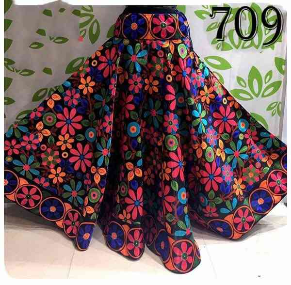 Multi Color Bengalore Silk Printed Free Size Skirt - U709