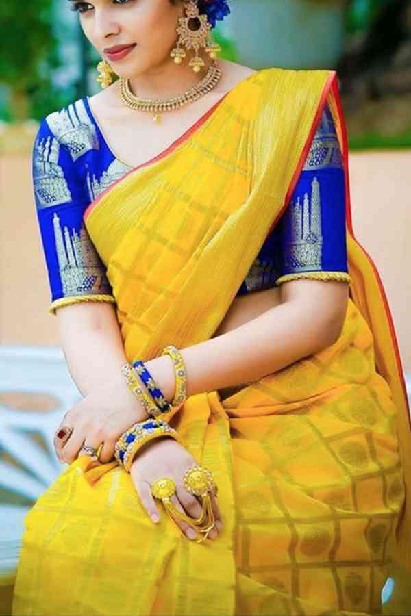 Ethnic Yellow Color Soft Silk Saree cd -139