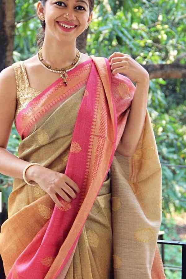 Delightful Gold And Pink Silk Saree cd -147